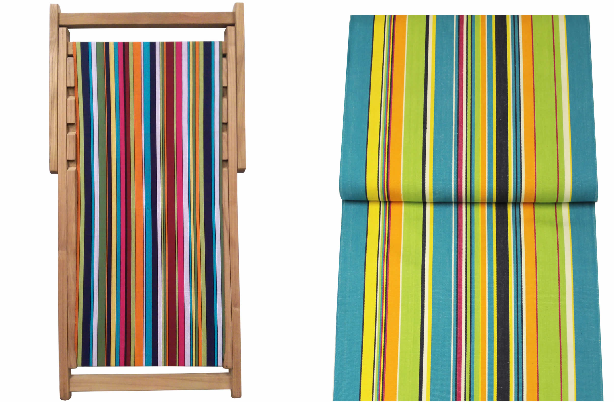 Teak Deck Chairs turquoise, lime, navy stripes