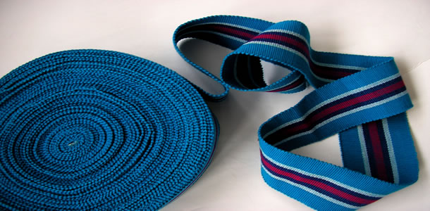 turquoise, red, blue - Striped Webbing | Upholstery Webbing