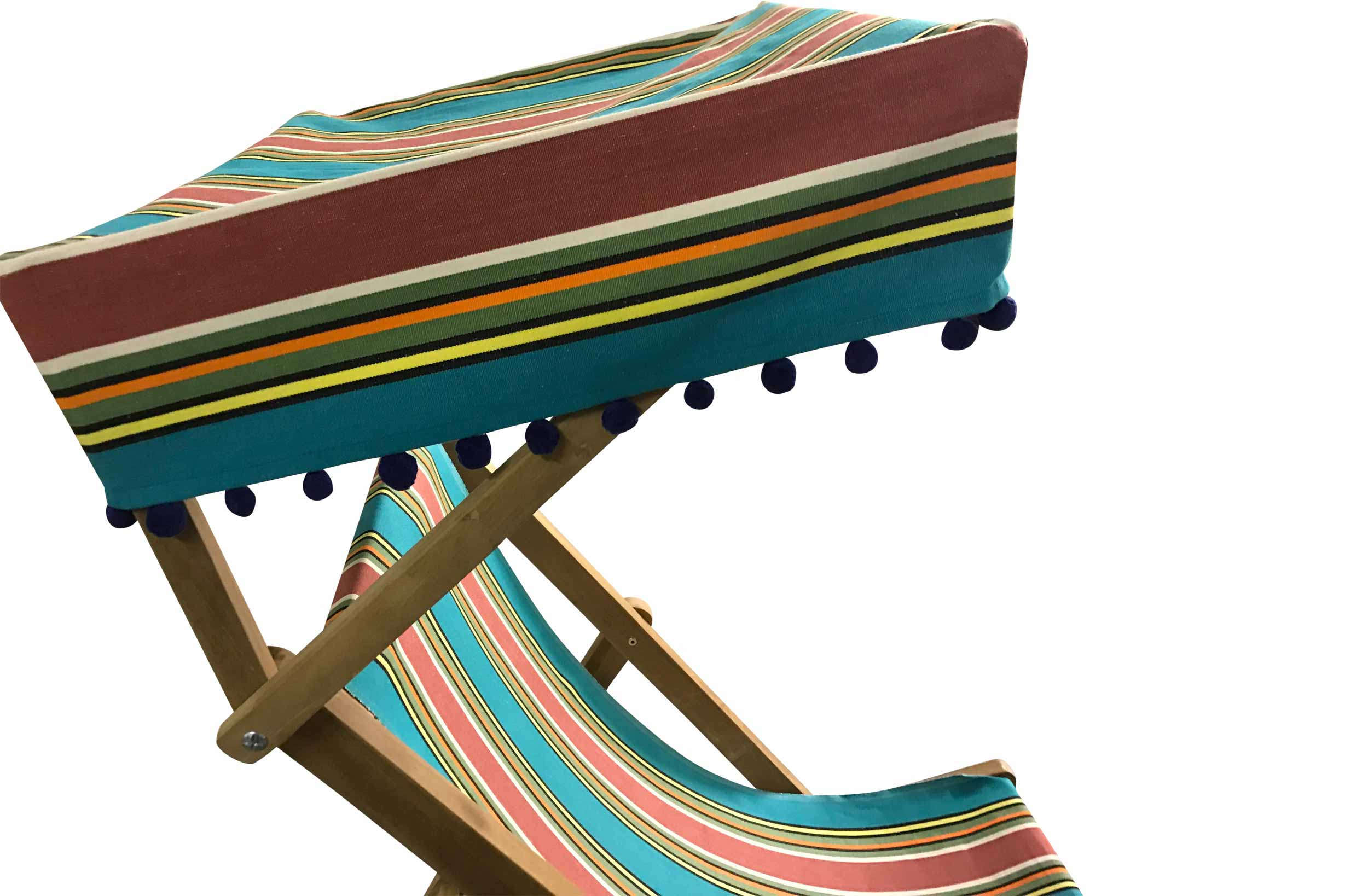 turquoise, terracotta, green - Edwardian Deckchairs with Canopy and Footstool