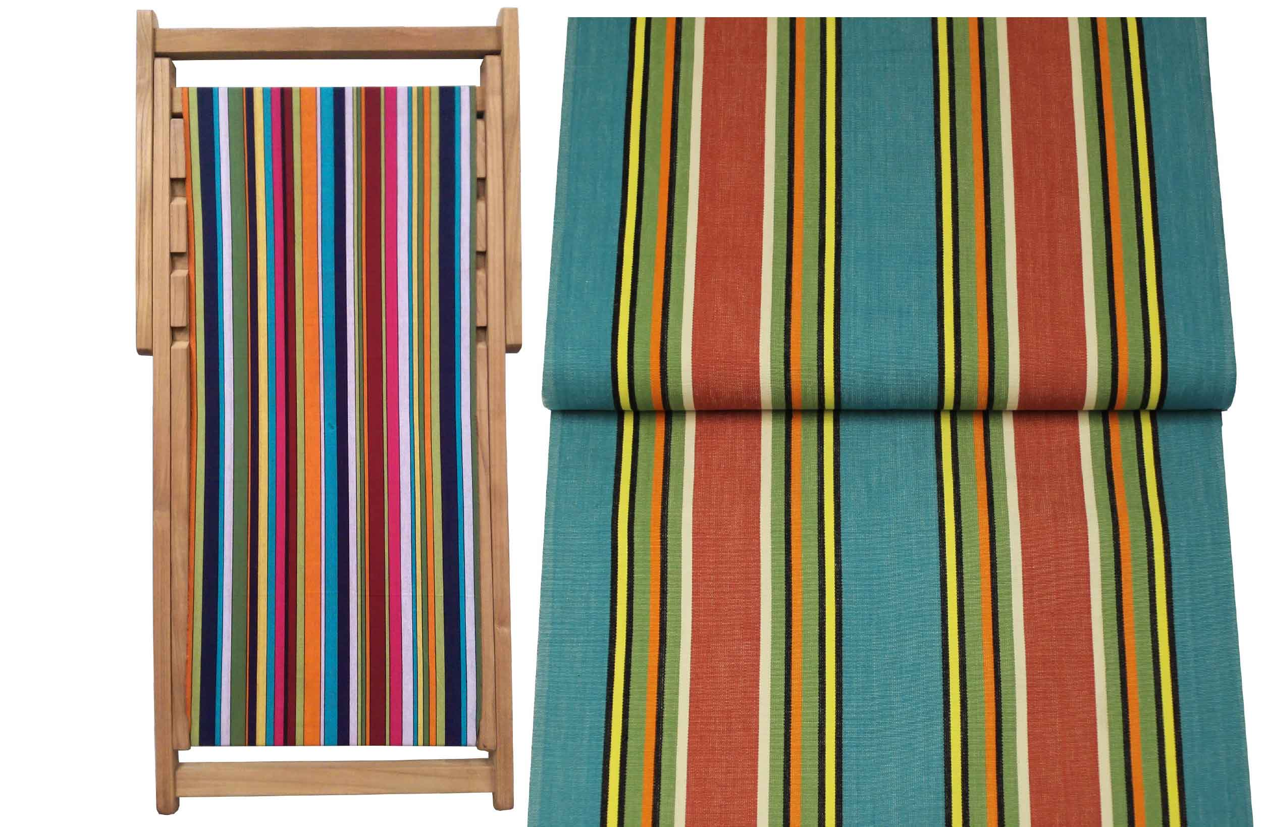 Teak Deck Chairs turquoise, terracotta, green stripes