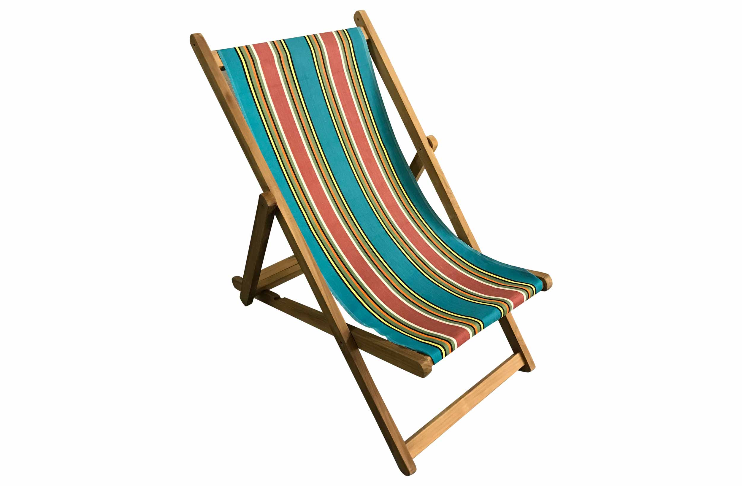 Turquoise Striped Deckchairs | Wooden Folding Deck Chairs Bagatelle Stripes