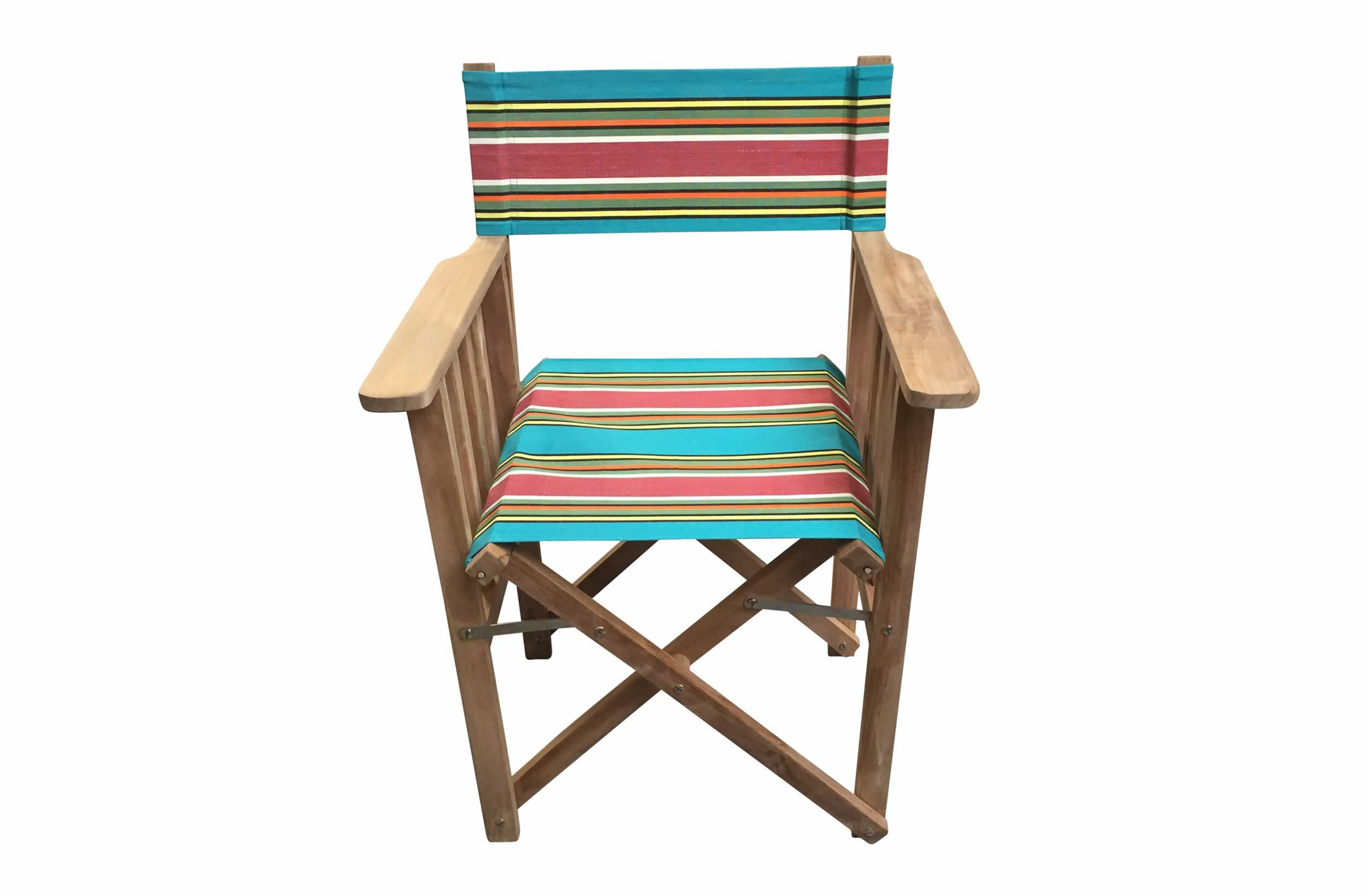 Teak Directors Chair - retro Bagatelle Stripe