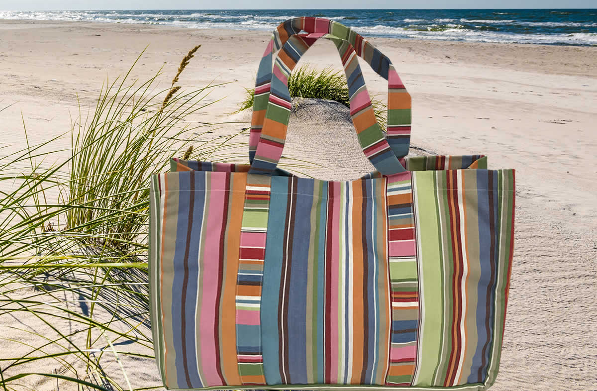 Blue Pink Turquoise Stripe Extra Large Beach Bag