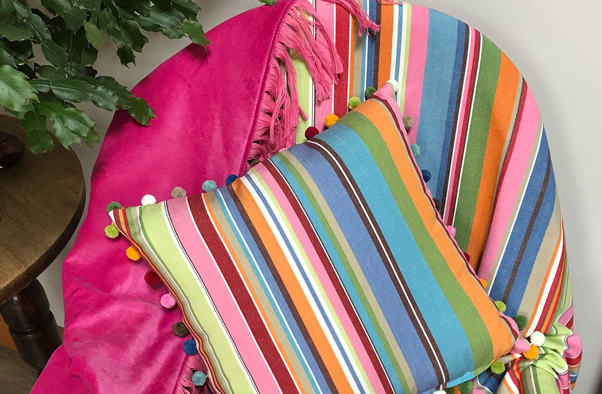 Reversible Pink Velvet Striped Cotton Throw with Pink Fringe