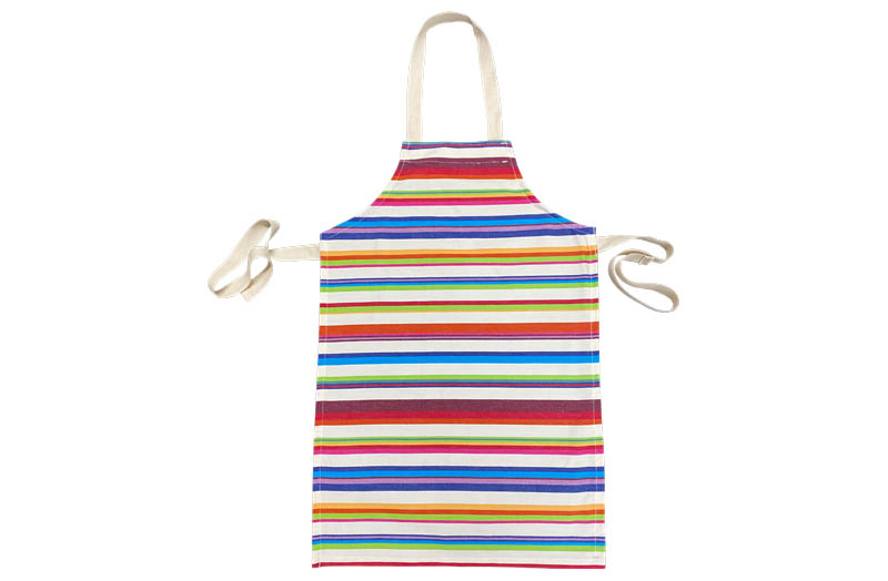 Multicoloured Striped Kids Aprons | Cream Stripe Childrens Aprons