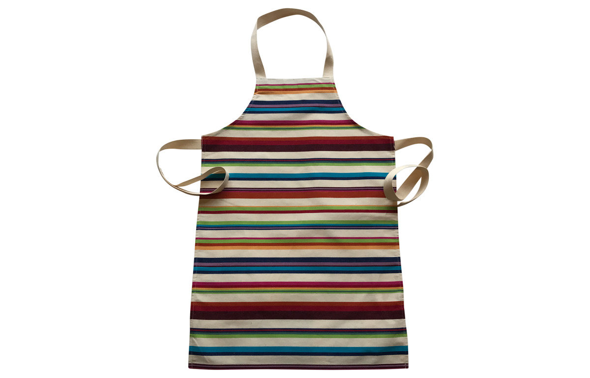 cream, brown, terracotta, green - Striped Childrens Aprons