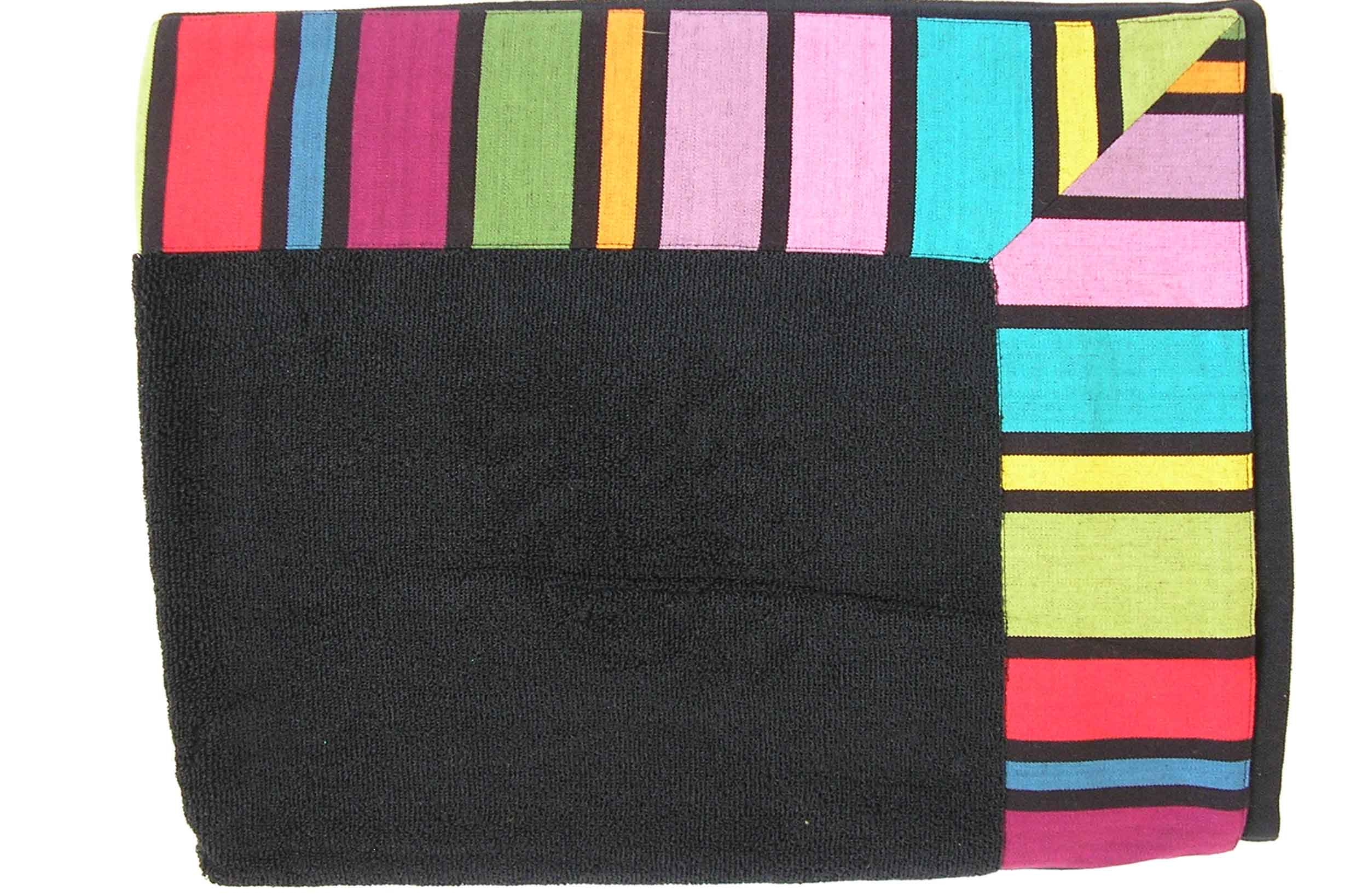 Large Black Bath Sheet with Striped Border