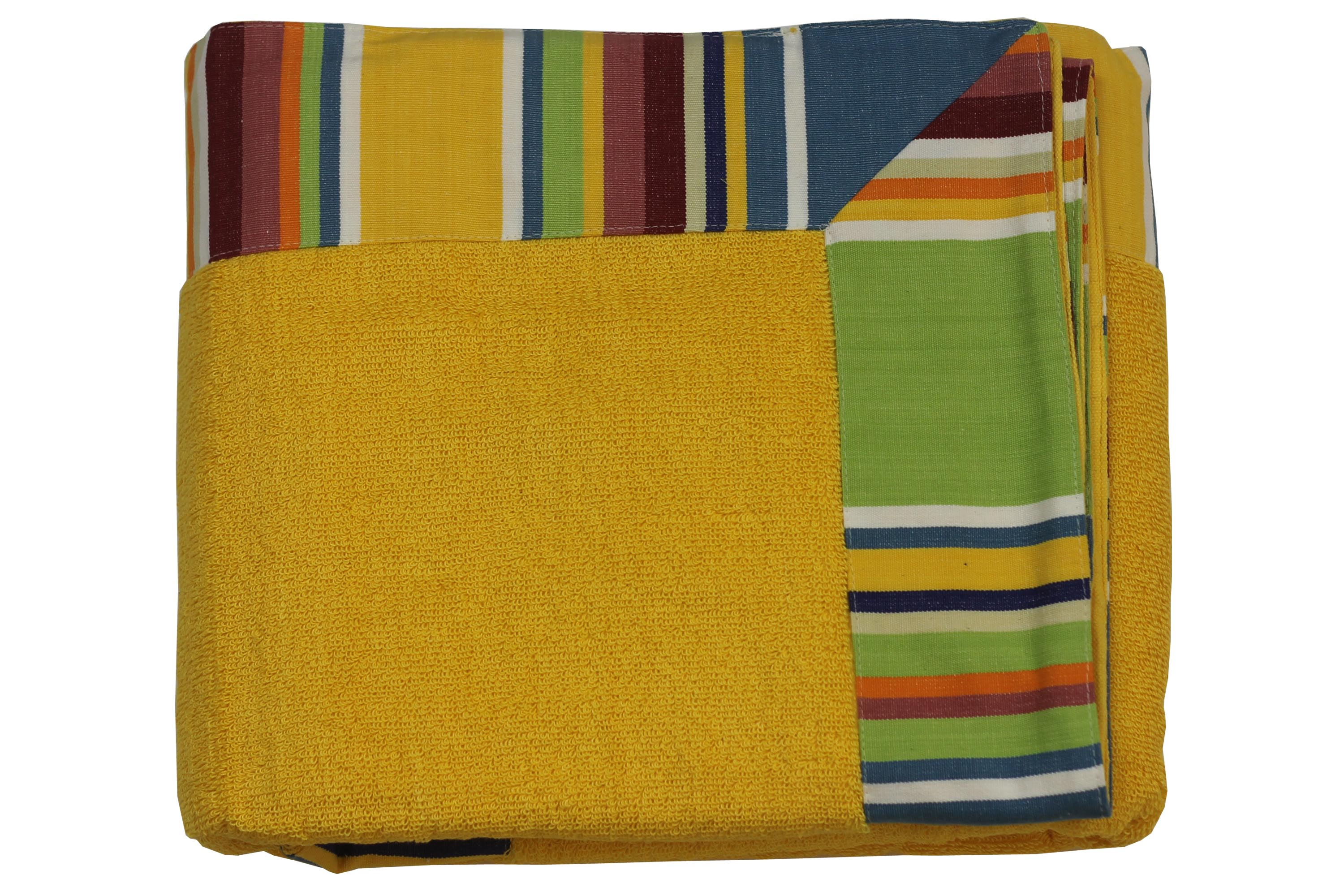 Large Yellow Bath Sheet with Striped Border