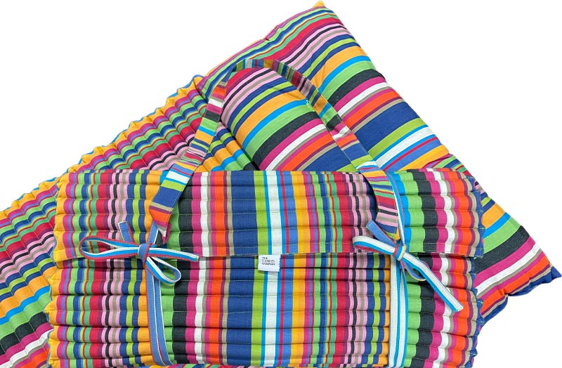 Multi-Colour Stripe Roll Up Beach Mattress with Pillow