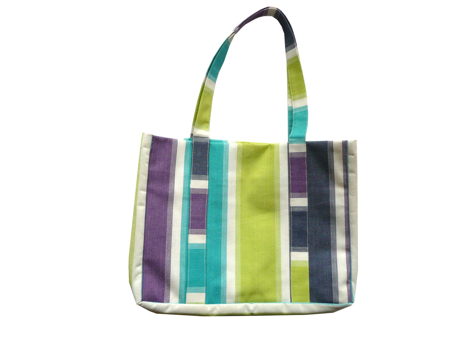 Striped Beach Tote Bag lime green, turquoise, navy white stripes