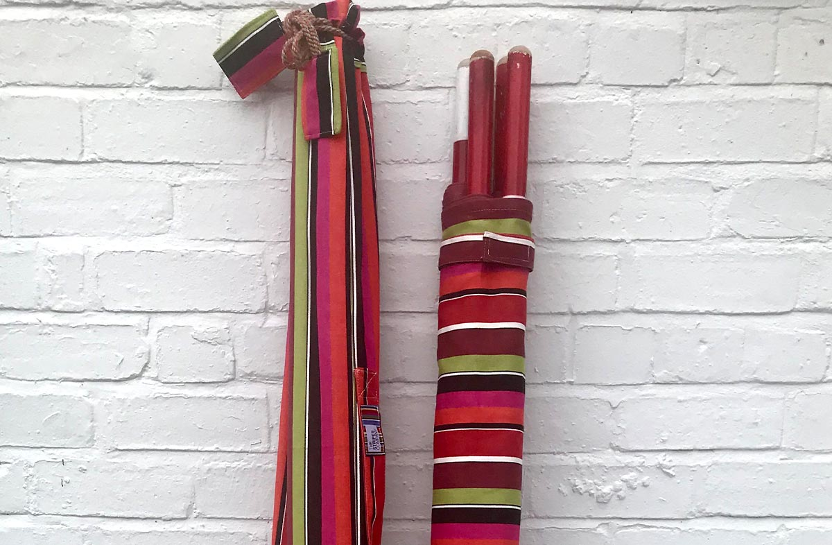 Pink, Coral, Black and Lime Stripe Beach Windbreak