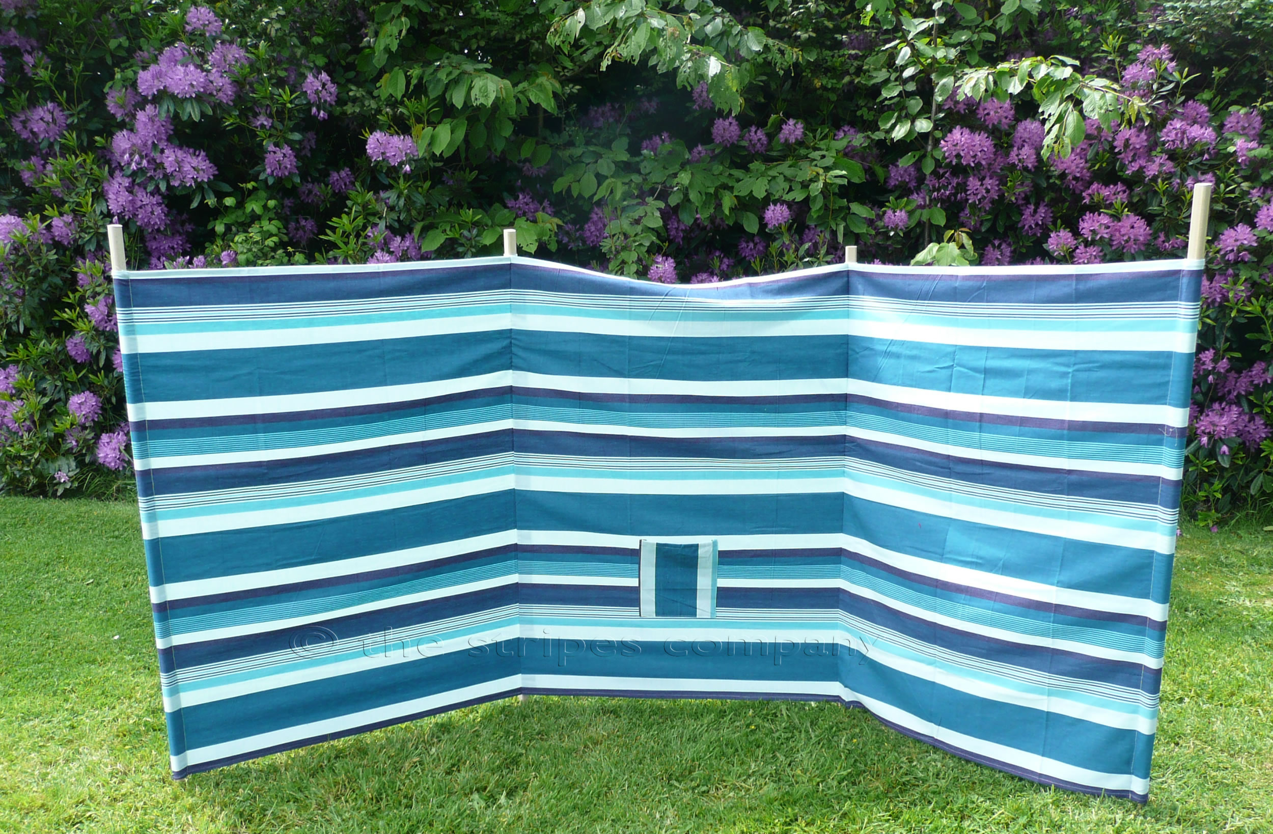 Beach Windbreaks sea green, aquamarine, french navy stripes