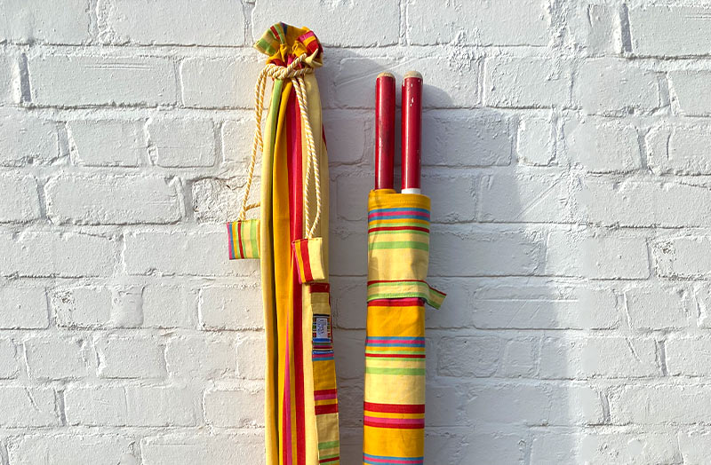 Yellow and Red Stripe Beach Windbreak