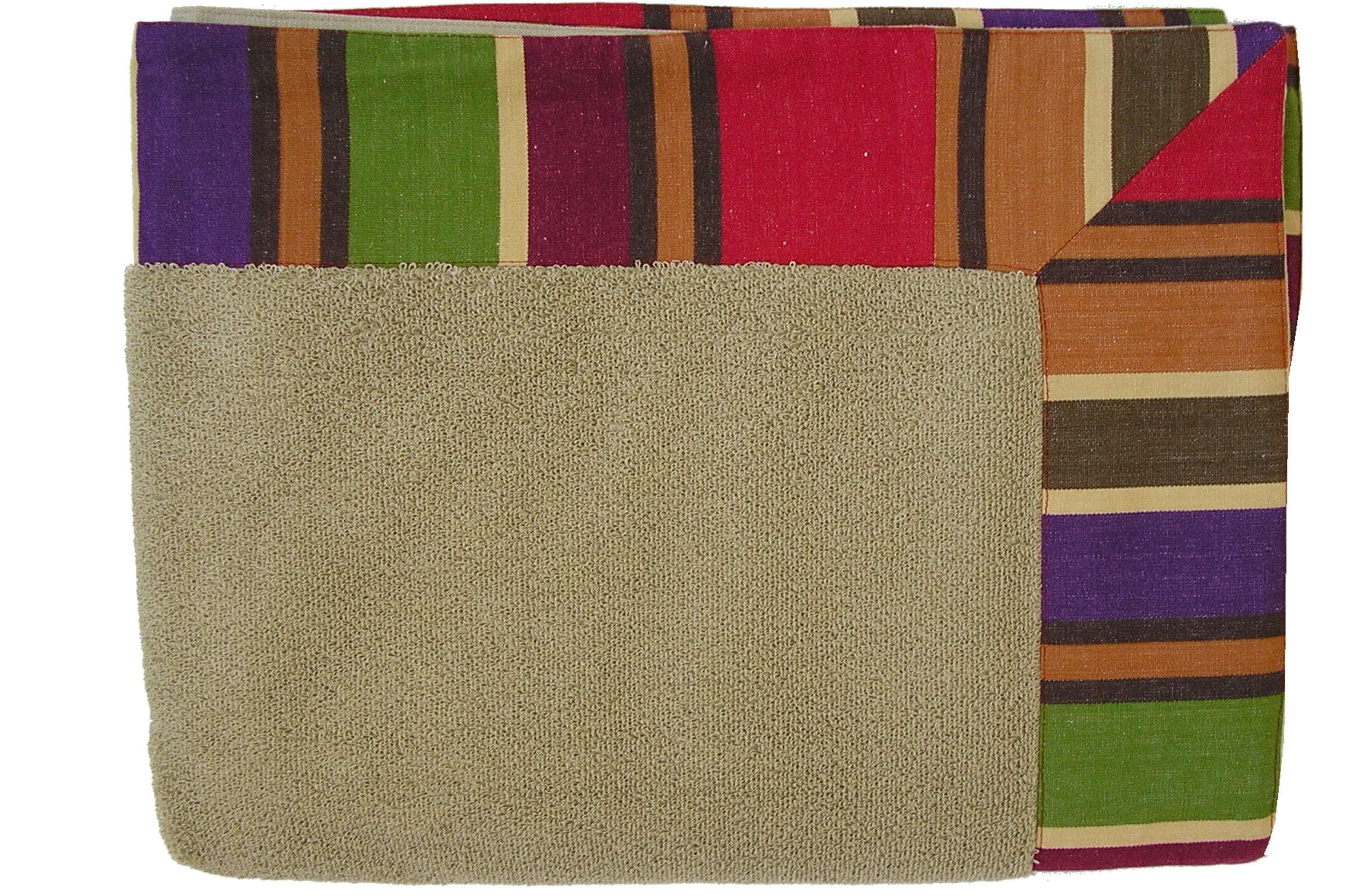 Extra Large Beige Beach Towels with striped border in caramel, beige, purple, green