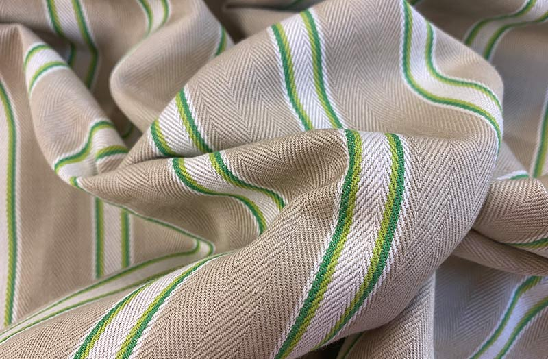 Beige and Green Stripe Ticking Fabrics