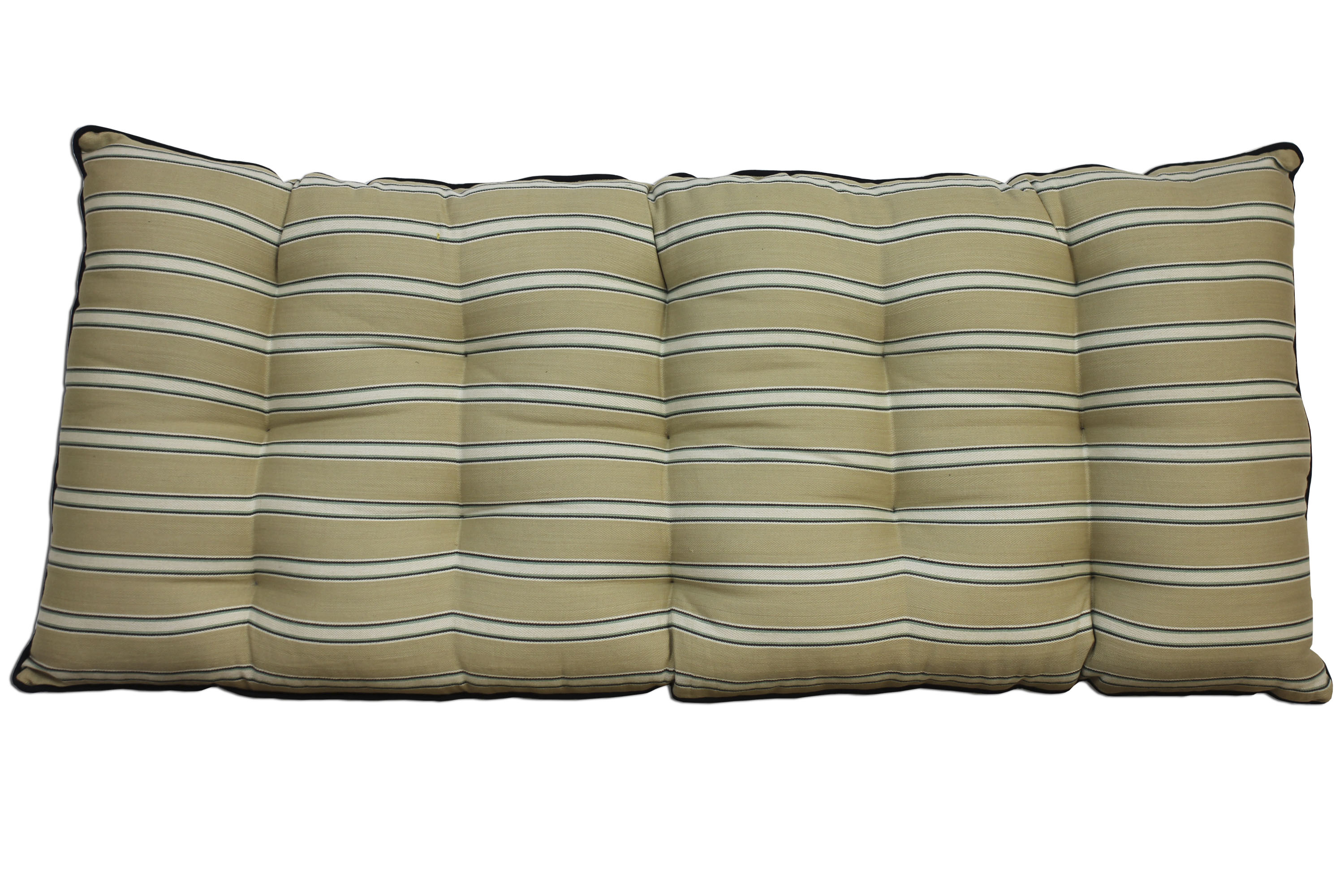 Beige Striped Bench Cushions | Long Seat Cushions Beige and Blue Stripes