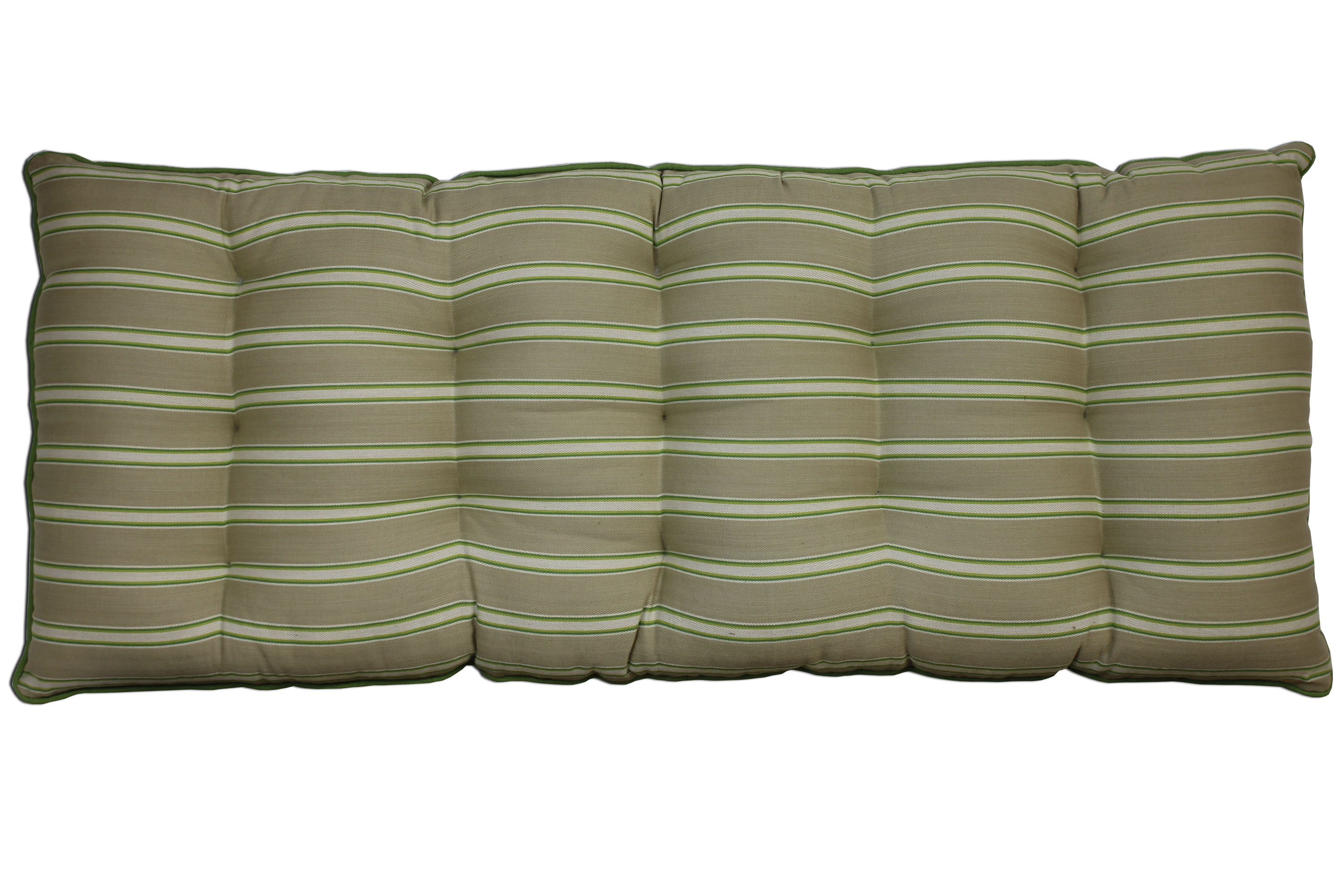 Beige Striped Bench Cushions | Long Seat Cushions Beige and Green Stripes