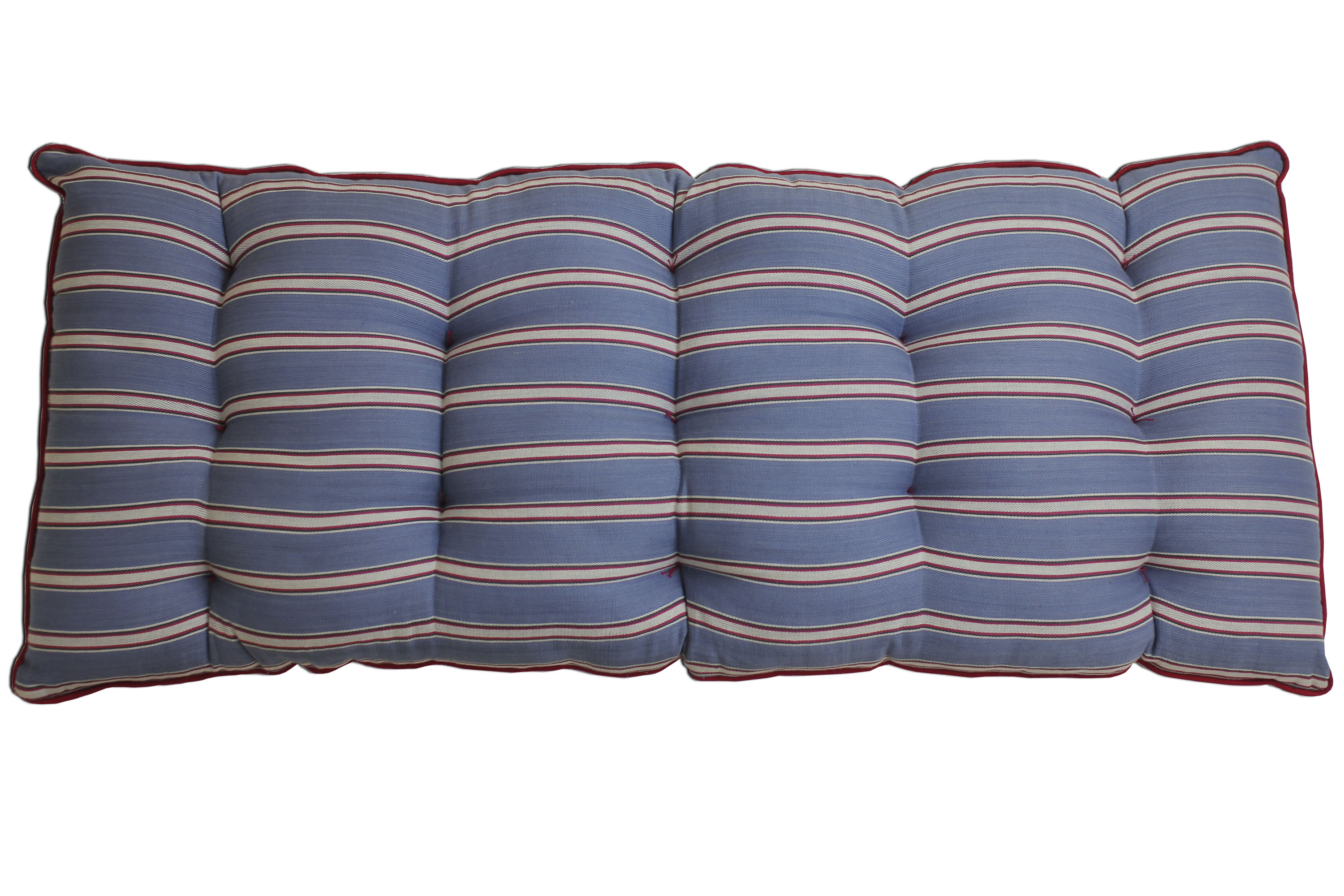 Blue Striped Bench Cushions | Long Seat Cushions Blue and Red Stripes
