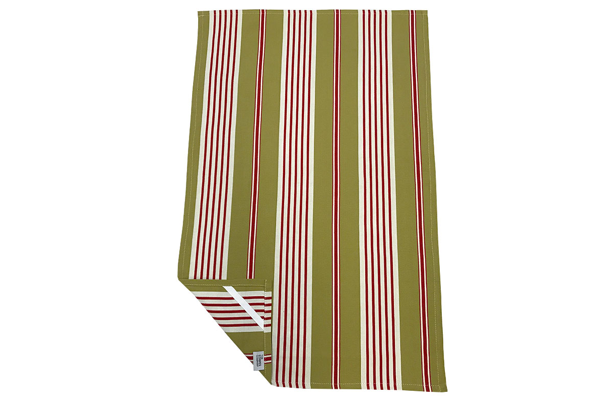 Olive Green, Red & White Striped Tea Towels