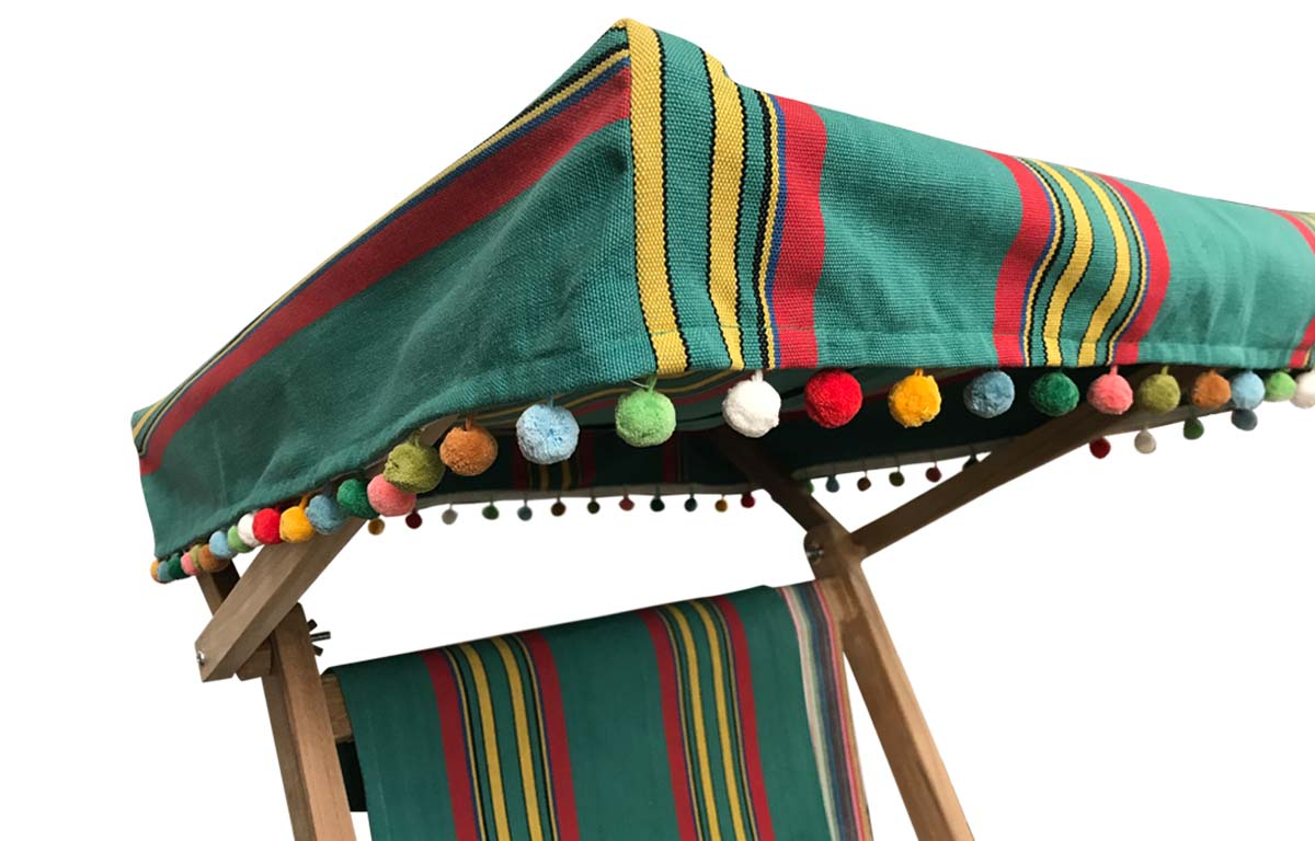 Vintage Green Edwardian Deckchair with Canopy and Footstool