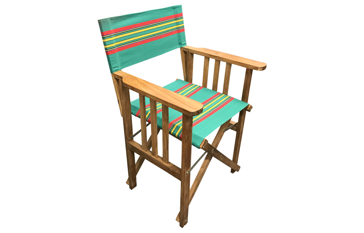 Directors Chairs with Vintage Green Striped Covers