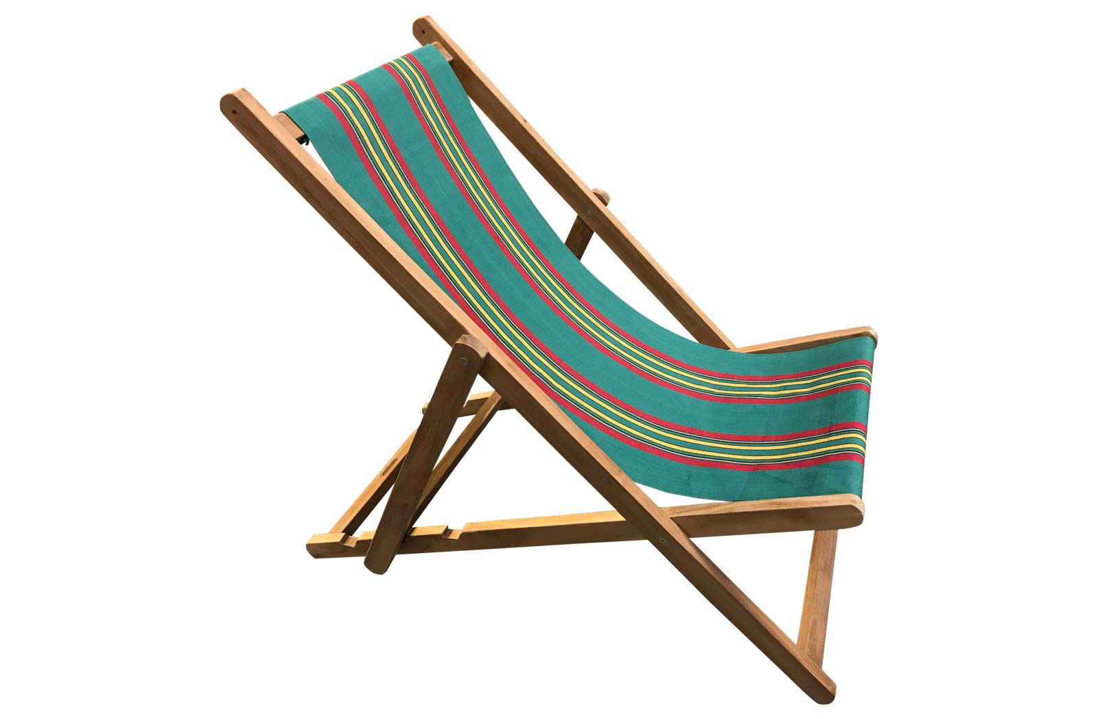 Retro Green Stripe Deckchair | Traditional Wooden Deck Chairs Jade green, red, yellow stripe