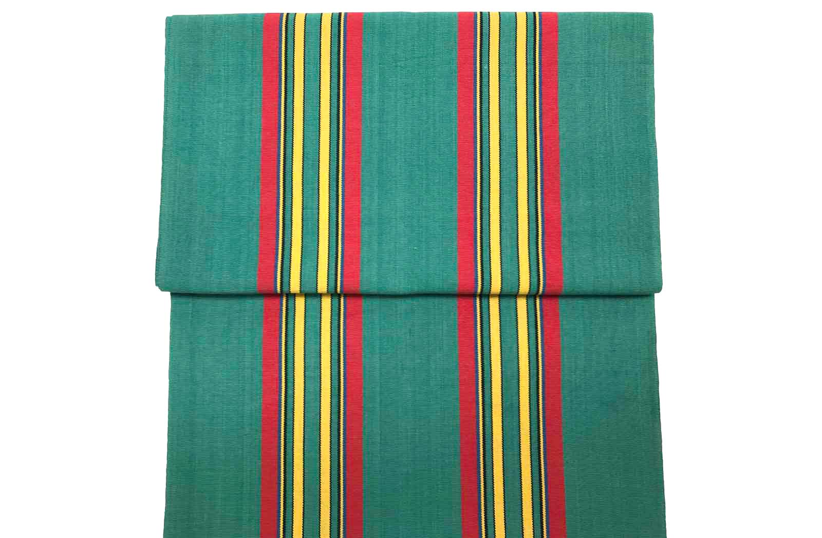 Vintage Deckchair Fabric Jade green, red, yellow stripes