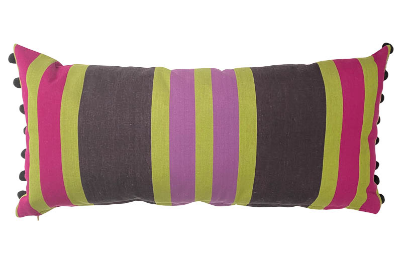 Black, Lime Green, Pink Striped Oblong Cushions with Bobble Fringe