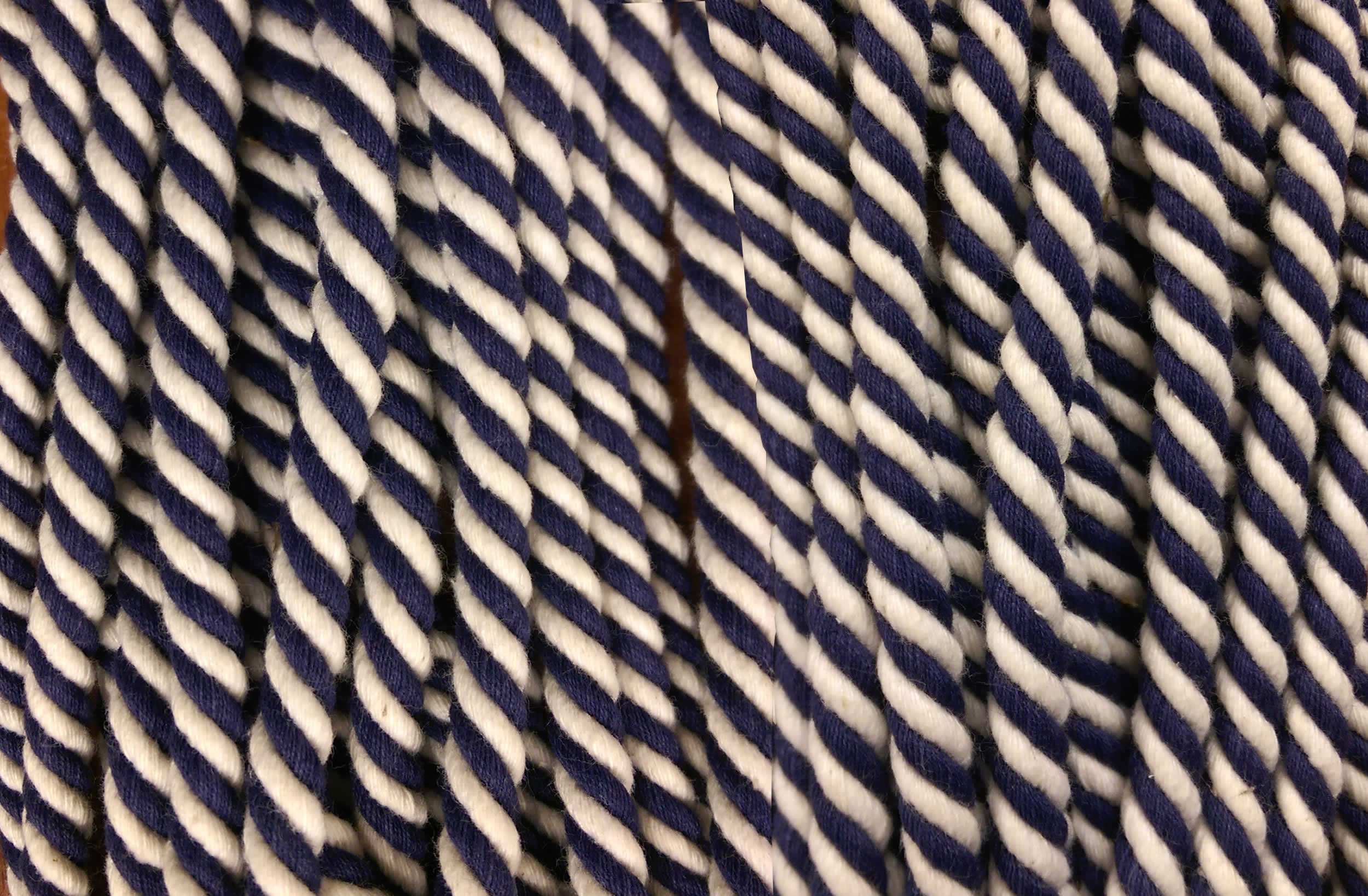 Navy Blue and White Striped Cord | Striped Rope