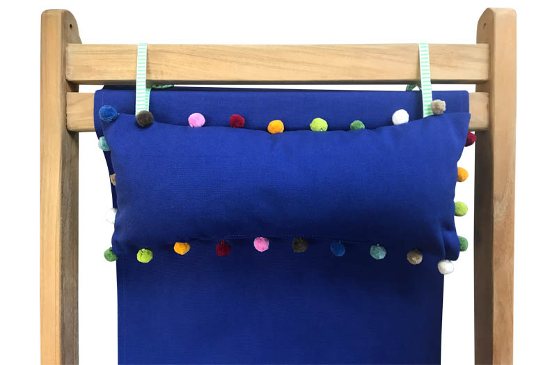 Blue Deckchair Headrest Cushions |  Blue Tie on Pompom Headrest Pillow