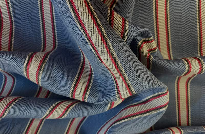 Blue and Red Stripe Ticking Fabric