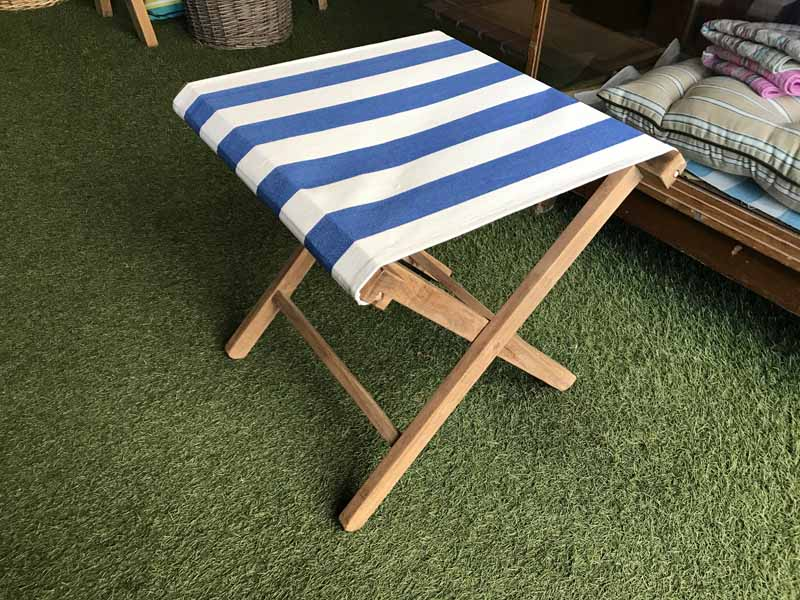 Portable Folding Stool with Blue & White Striped Seat