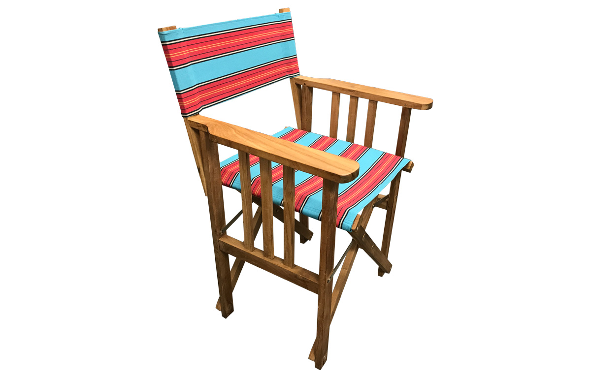 Light Blue and Red Stripe Directors Chairs