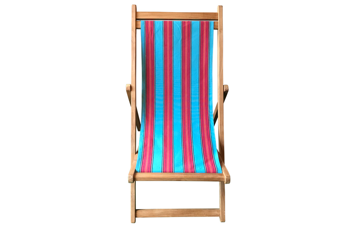 Premium Deck Chairs with light blue, red striped sling