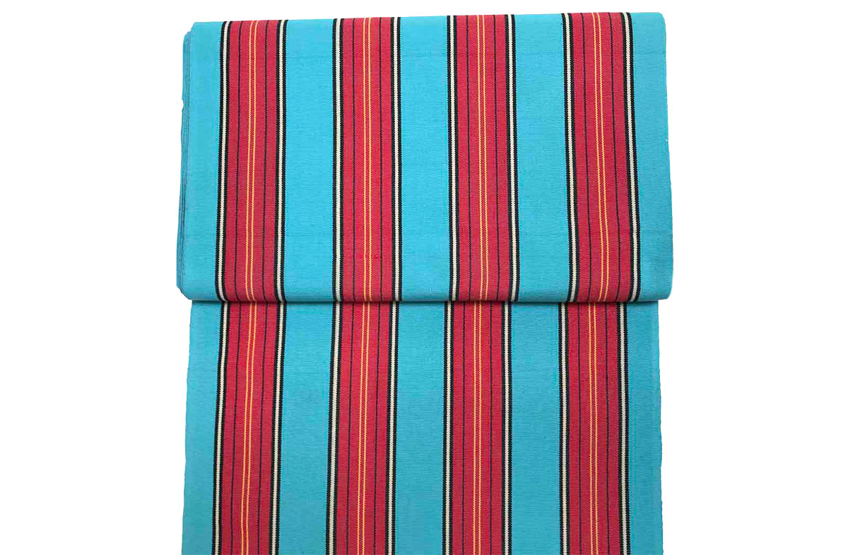 Turquoise and red stripe vintage deckchair fabric