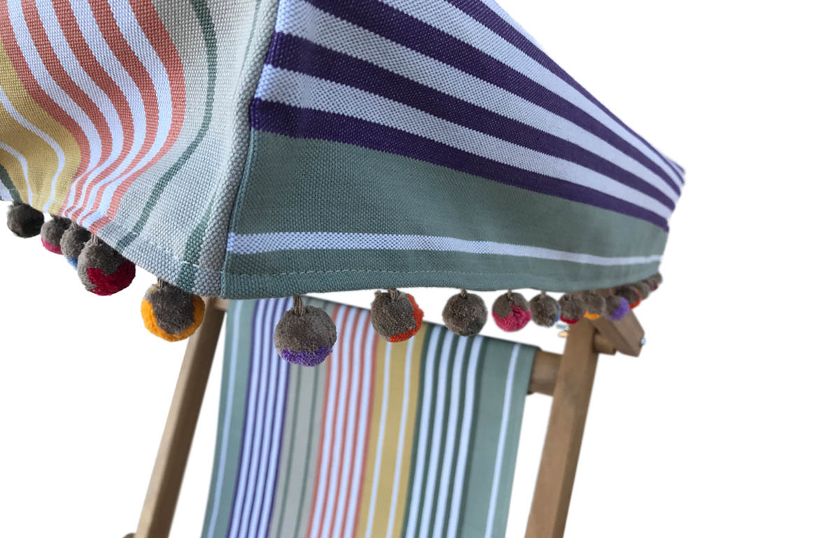 sage green, purple, mustard - Edwardian Deckchairs with Canopy and Footstool