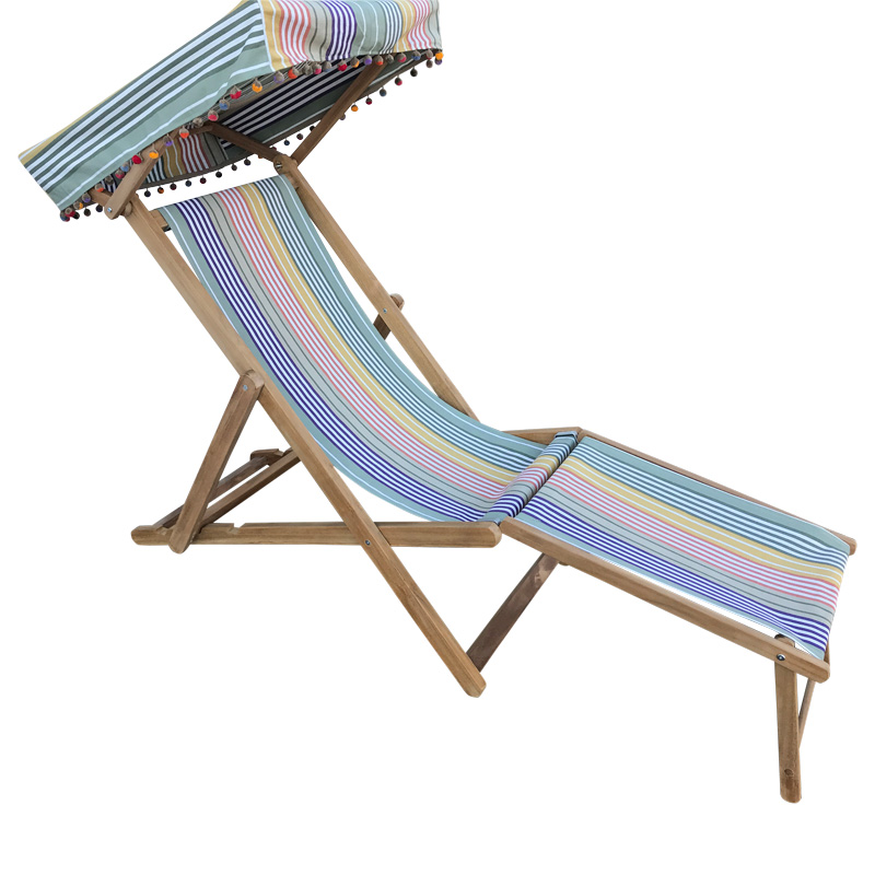 sage green stripe deckchair with canopy sonf footstool
