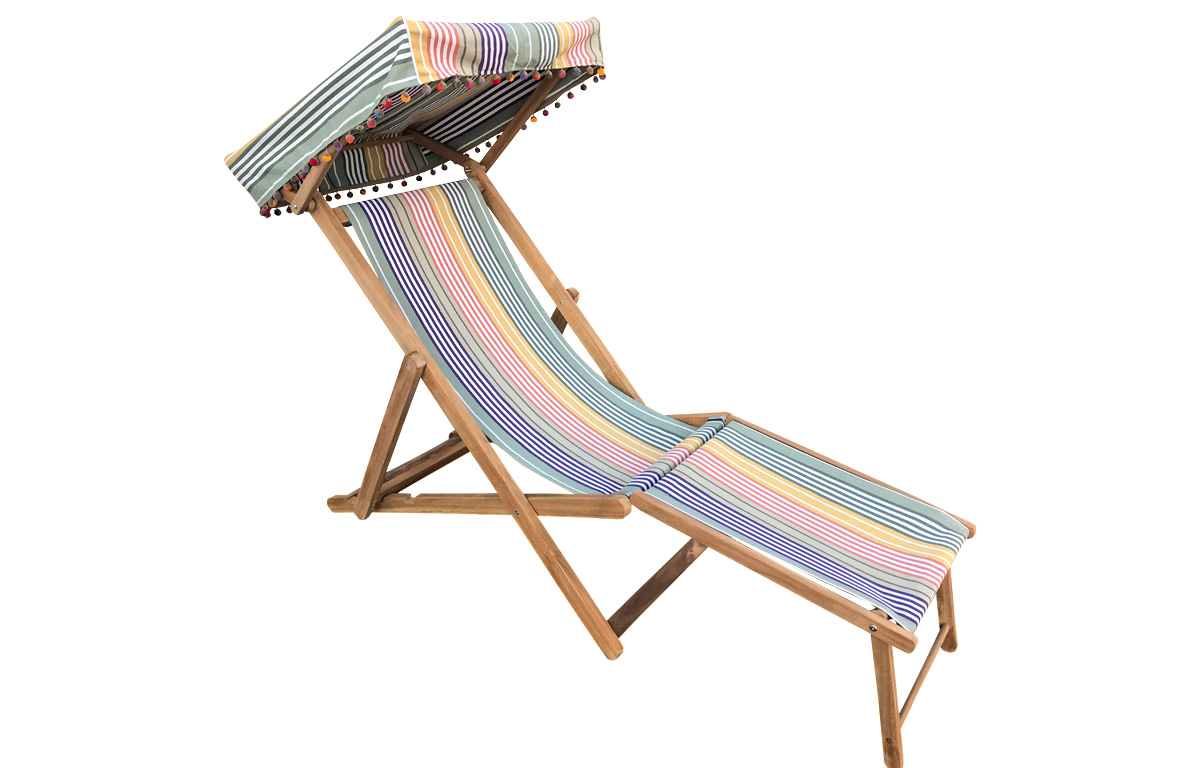 Sage Green, Purple and Mustard stripe Edwardian Deckchairs with Canopy and Footstool