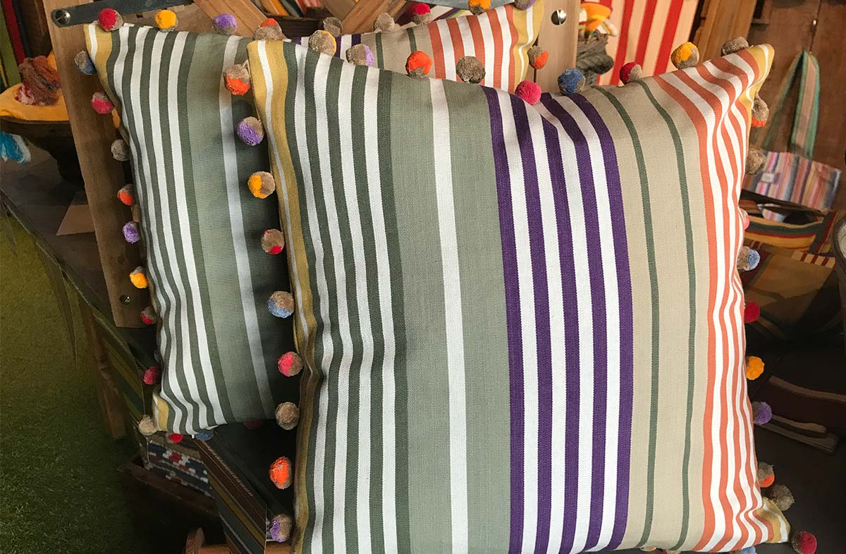 Sage Green, Purple and Mustard Striped Pompom Cushion 40x40cm