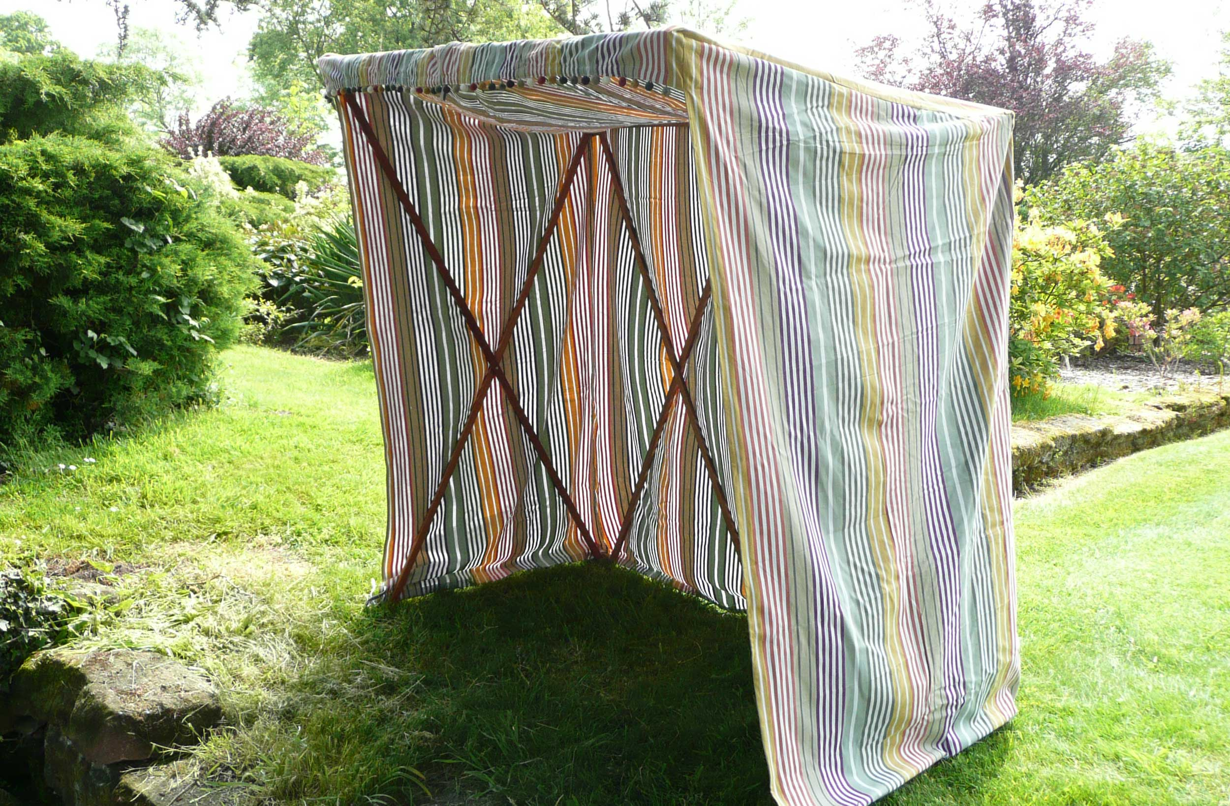Sun Shelter COVER ONLY sage green, purple, yellow stripes