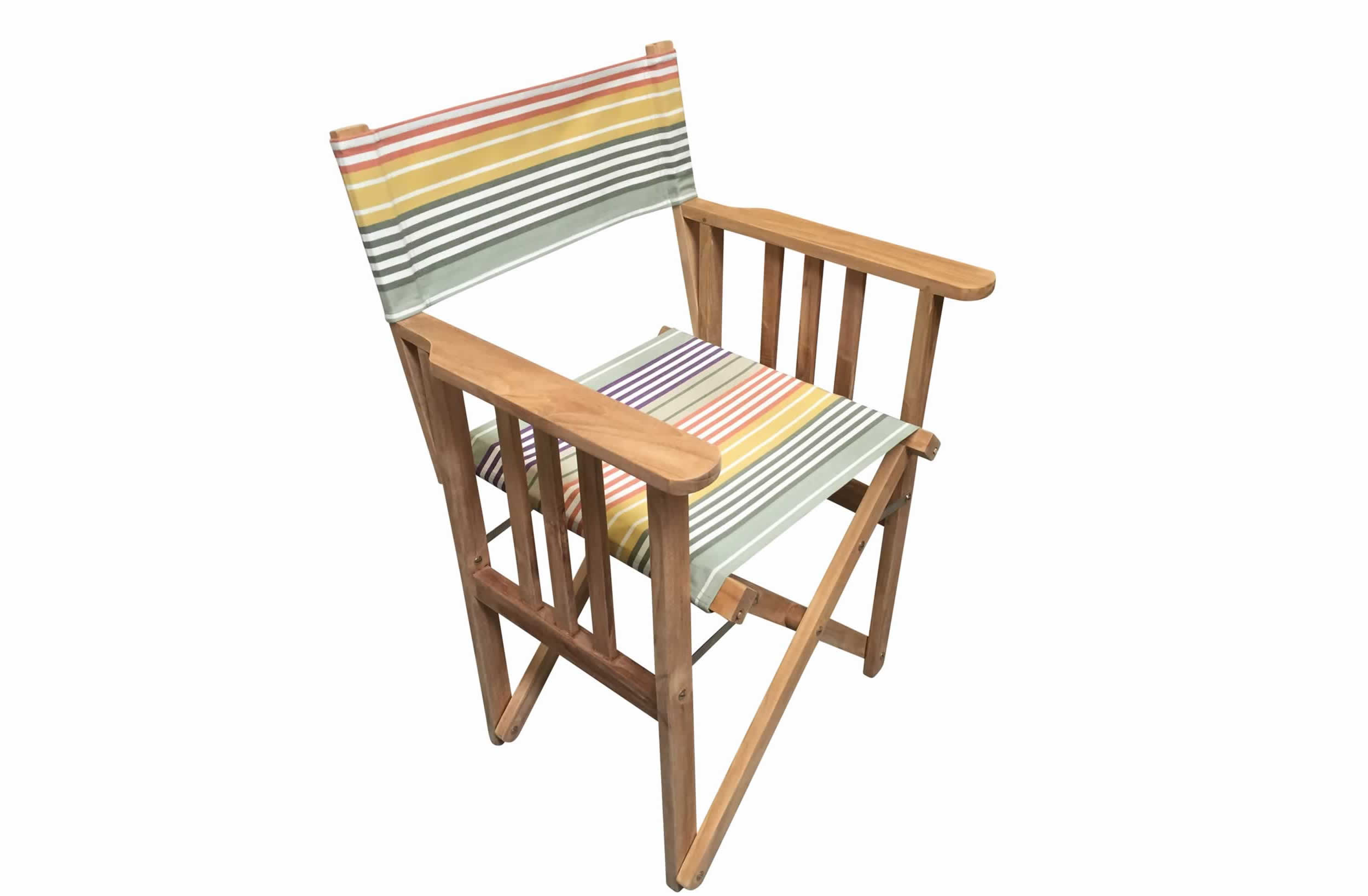 Teak Directors Chair - Boules Stripe