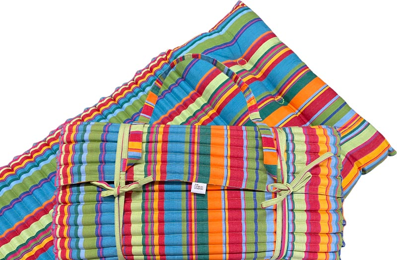 Green, Blue, Red Stripe Beach Mats | Roll Up Beach Mattress with Pillow