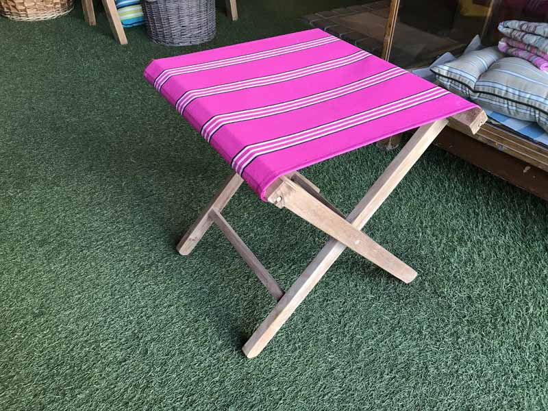 Bright Pink Portable Folding Wooden Stool