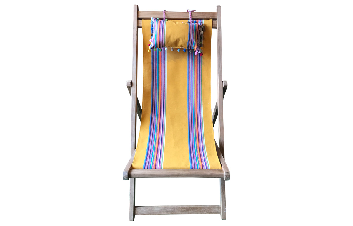 Mustard Yellow Teak Deckchair with Headrest and Storage Pockets