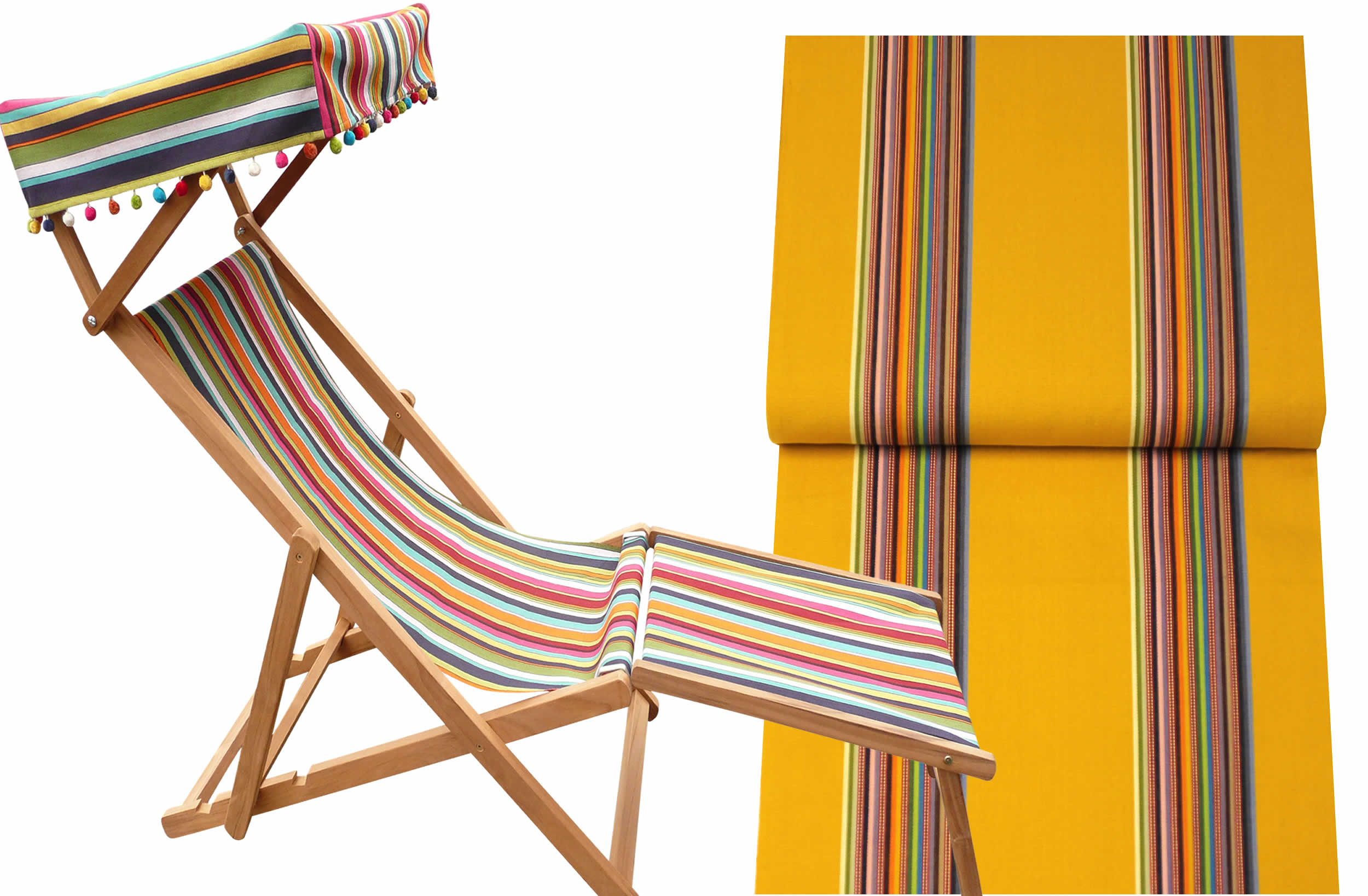Edwardian Deckchairs with Canopy and Footstool yellow, rainbow