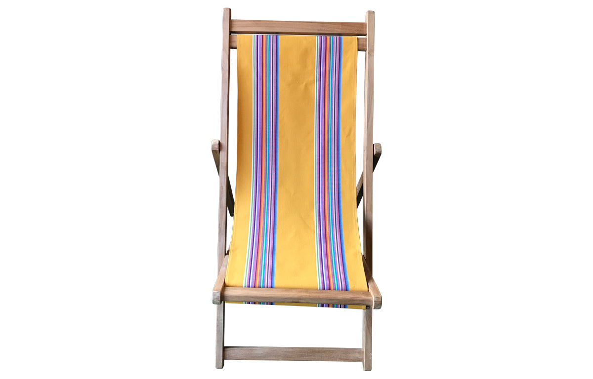 Butterfly Yellow Teak Deck Chairs with rainbow stripes