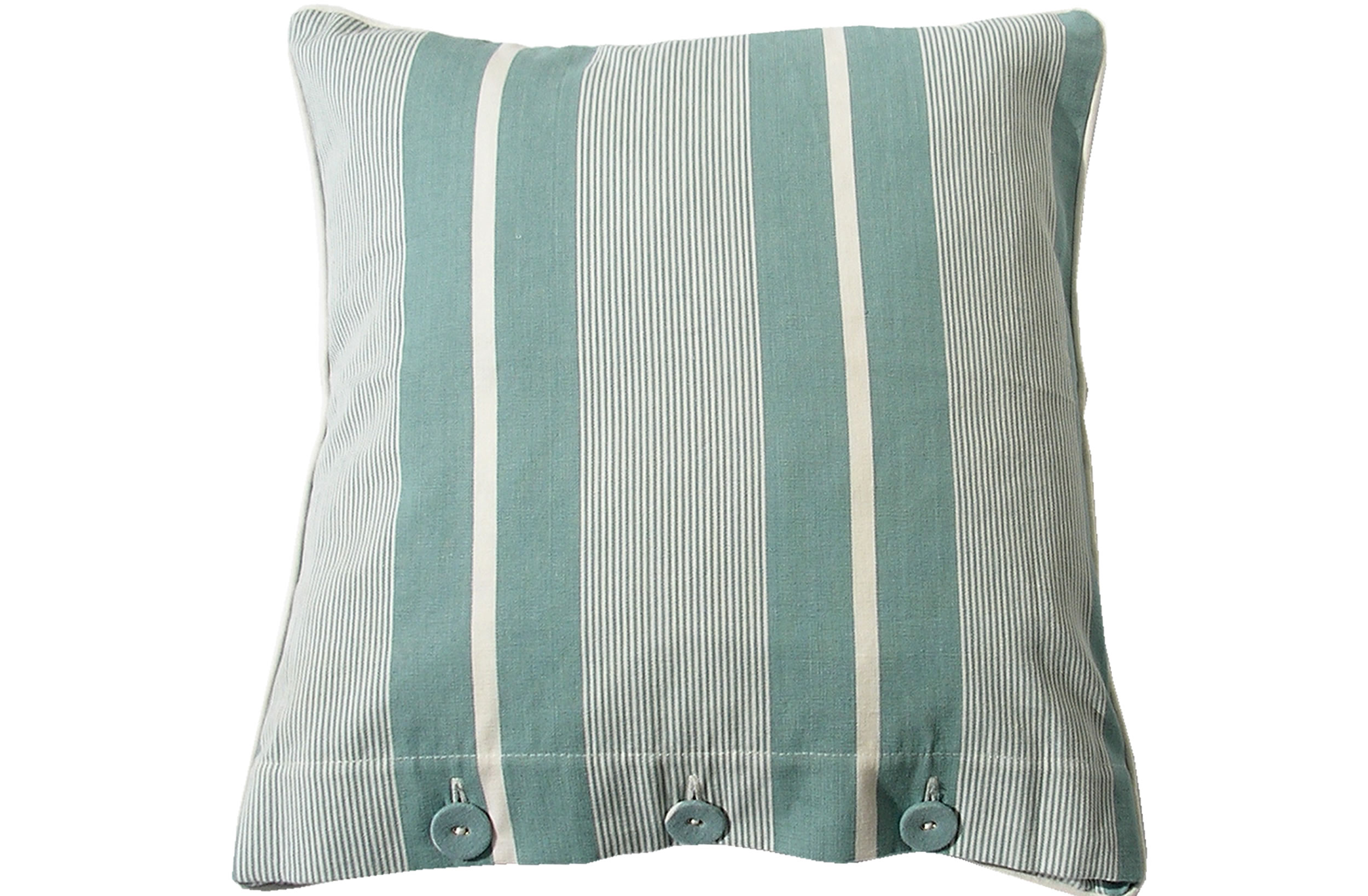 Teal Striped Button Cushions | Piped Buttoned Cushions