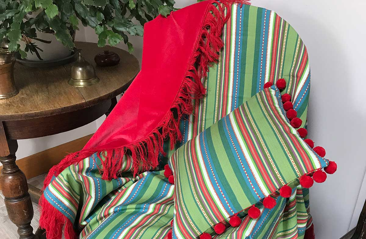 Reversible Red Velvet Pretty Green Stripe Fringed Cotton Throw with Red Fringe