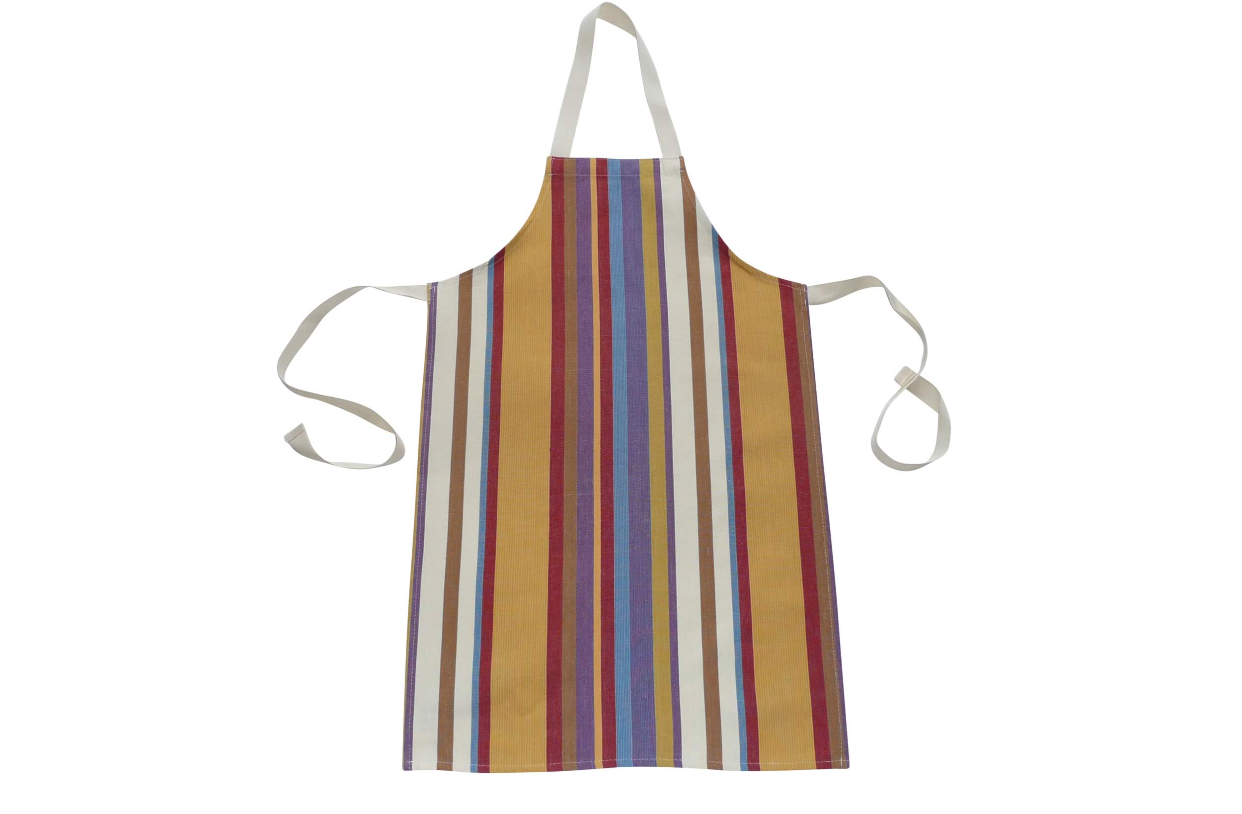 Childrens Aprons apricot, rust, blue stripes