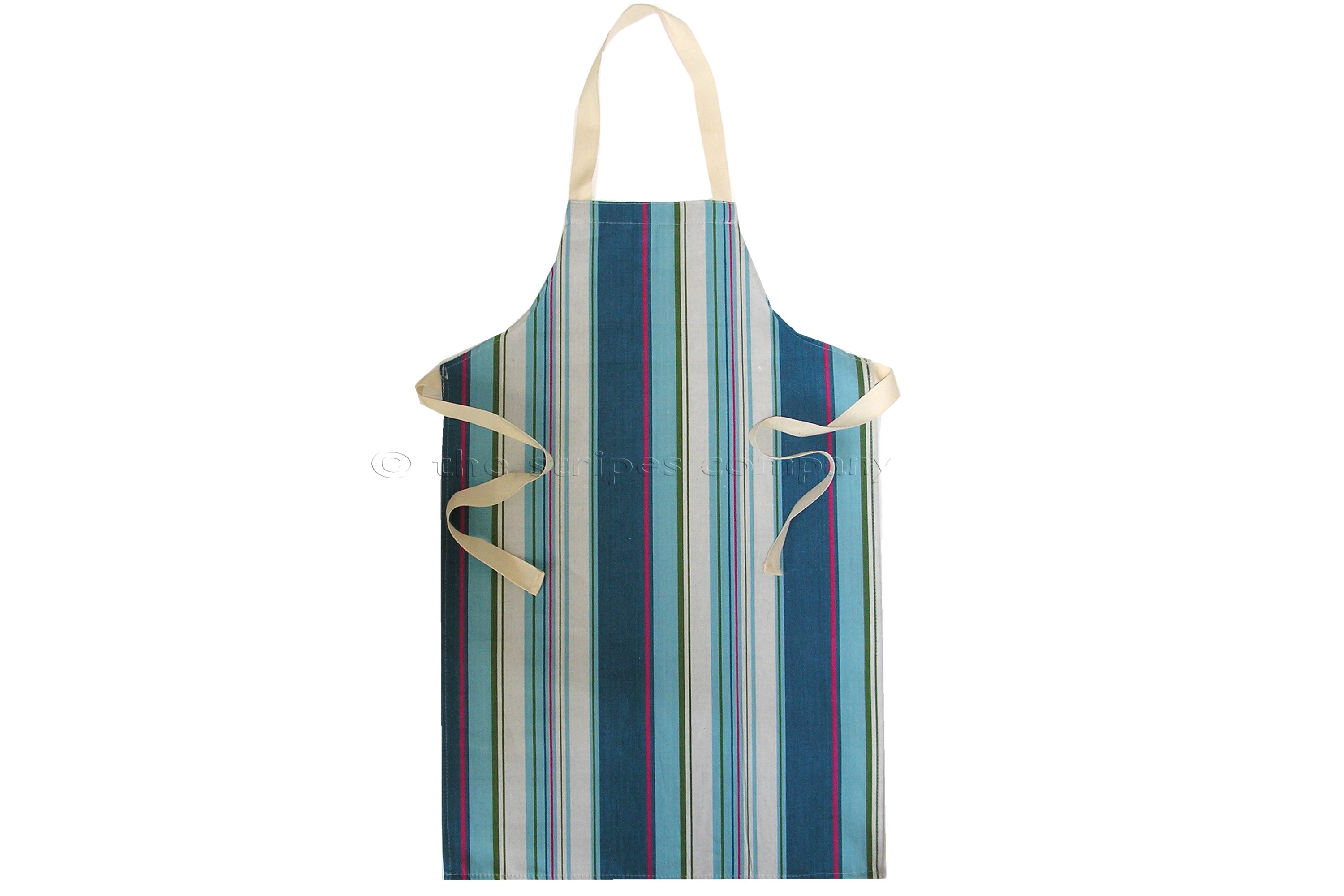 Petrol Blue Striped Kids Aprons | Aprons for Children - Sailing Stripe